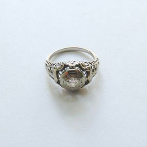 Antique Engagement Ring 1930s White Gold Size 4